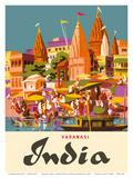 Varanasi India  Ganges River  (Banares  Banaras  Kashi) in Uttar Pradesh  Manikarnika Burning Ghat