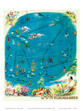 Map of the Polynesian Islands, Don the Beachcomber Tiki Bar and Restaurant Reproduction d'art