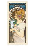 Feather, Art Nouveau, La Belle Époque Reproduction d'art par Alphonse Mucha