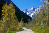 Cyclist on Road to Maroon Bells  Aspen  Colorado  United States of America  North America