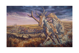 An Epicyon Attacks a Synthetoceras on the Run
