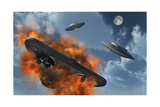 Ufo's from Different Alien Races Fighting Each Other in the Earth's Atmosphere