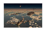 A Ufo Buzzing a Group of B-29 Superfortress Aircraft
