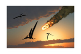Pteranodons in Flight  Unaware of the Danger That a Crashing Asteroid Is About to Bring