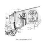 """What is the name of your first pet"" - New Yorker Cartoon"