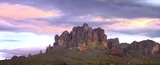 Panoramic view of the Superstition Mountains at sunset  Arizona