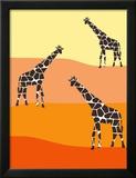 Orange Giraffe Family