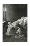 Mort De Jean Valjean Entre Cosette Et Marius - Illustration from Les Misérables 19th Century