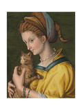 Portrait of a Young Lady Holding a Cat