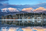Big Mountain Reflects in Whitefish Lake  Whitefish  Montana  Usa