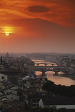 Italy  Florence  Tuscany Central Florence at Sunset