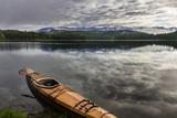 Wooden Kayak on Shore of Beaver Lake Near Whitefish  Montana  Usa