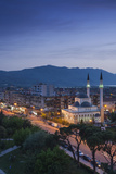 Albania  Shkodra  Elevated View of Zogu 1 Boulevard and Mosque  Dusk