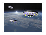 Three Ufo's Flying Above Planet Earth