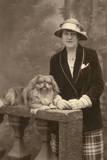 Studio Portrait  Woman with Pekingese Dog