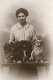 Woman with Pekingese Dogs