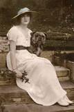 Gabrielle Ray  English Actress  with a Dog in a Garden