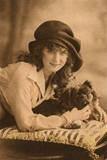 Studio Portrait  Young Woman with Pekingese Dog
