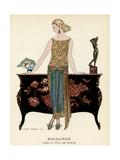 Elegant Woman in Visiting Dress 1922 Giclée par Georges Barbier