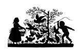 Silhouette - Children and Birds