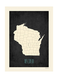Black Map Wisconsin