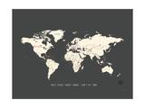 Carte noire et beige du monde, planisphère Reproduction d'art par Rebecca Peragine