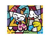 Happy Cat and Snob Dog Reproduction d'art par Romero Britto