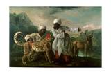 Cheetah and Stag with Two Indians  C1765