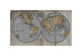 Carte du monde Giclée par Russell Brennan