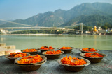 Puja Flowers Offering for the Ganges River in Rishikesh  India