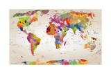Carte du monde Reproduction d'art par Mark Ashkenazi