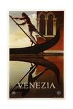 Venezia Venice Man Rowing Gondola