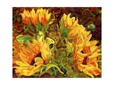 Four Sunflowers Giclée par Mandy Budan