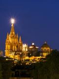 Evening Lights Parroquia Archangel Church San Miguel De Allende  Mexico