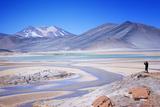 Man Standing on Rocks Looking over Miscanti Laguna  Turquoise Mineral Lake  San Pedro De Atacama