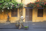 Woman Carrying Vegetables in Street  Hoi An  Quang Nam  Vietnam  Indochina  Southeast Asia  Asia