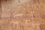 Bighorn Sheep  Human  and Geometric Petroglyphs  Gold Butte  Nevada  Usa