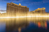 Bellagio and Caesars Palace Reflections at Dusk with Fountains  the Strip  Las Vegas  Nevada  Usa