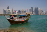 Small Boat and City Centre Skyline  Doha  Qatar  Middle East