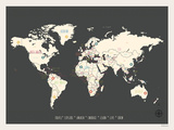 World Personalized Travel Map (includes stickers) Reproduction d'art par Rebecca Peragine