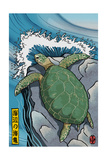 Sea Turtles - Woodblock Print