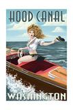Hood Canal  Washington - Pinup Girl Boating