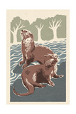 River Otters - Woodblock Print