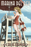 Marina Del Rey  California - Lifeguard Pinup