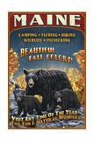 Maine - Black Bear Family Vintage Sign