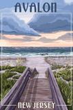 Avalon  New Jersey - Beach Boardwalk Scene
