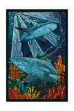 Black Tip Reef Shark - Paper Mosaic