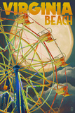 Virginia Beach  Virginia - Ferris Wheen and Full Moon
