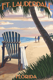 Ft Lauderdale  Florida - Adirondack Chair on the Beach