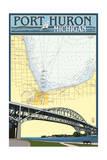 Port Huron  Michigan - Nautical Chart